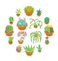 Green cactuses icons set cartoon style vector