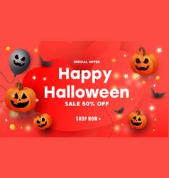 halloween template set banners with pumpkins vector image