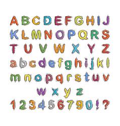 hand drawn doodle font cartoon alphabet vector image