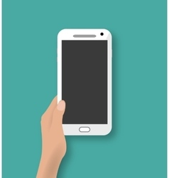 Hand holding white touch phone vector image