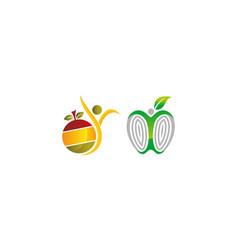 Health fruit template set vector