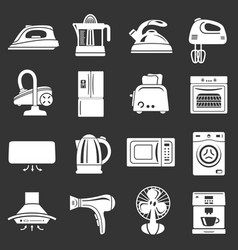 house appliance icons set grey vector image