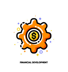 icon of gear with golden dollar coin for fintech vector image