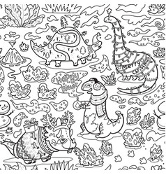 ink childish pattern with dinosaurs cratoon vector image