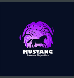 Logo mustang silhouette style vector