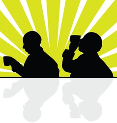 Man drinking from a cup silhouette vector