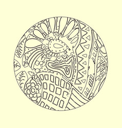 mandala ornament decorative doodles in zentangle vector image