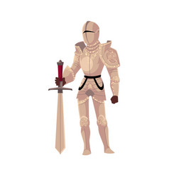 Medieval knight in decorated metal suits of armor vector