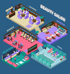 Multistory beauty salon isometric vector