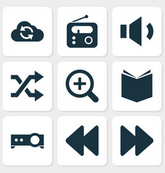 Music icons set collection of tuner next vector