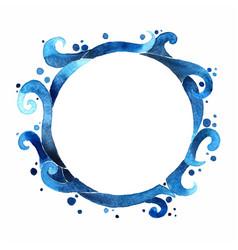 Ocean wave watercolor circle frame background vector