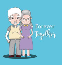 Old people couple together forever vector