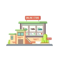 Online Shop Building Flat Design vector image