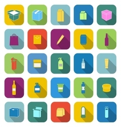 Packaging color icons with long shadow vector image