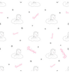 pattern with unicorn and stars vector image