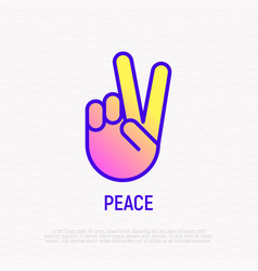 Peace or victory thin line icon vector