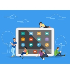 People with gadgets using tablets outdoors vector image