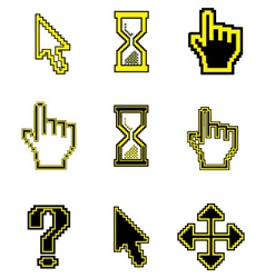 Pixel cursors icons-arrow hourglass hand mouse vector image