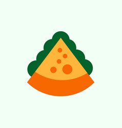 Pizza piece with cheese vector