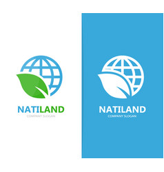 Planet and leaf logo combination world vector