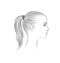 pretty girl profile young woman face sketching vector image