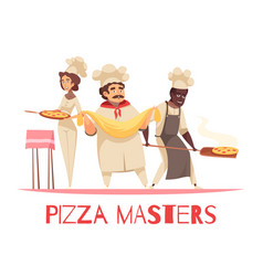 Professional cooking pizza composition vector
