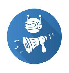 Propaganda bot flat design long shadow glyph icon vector