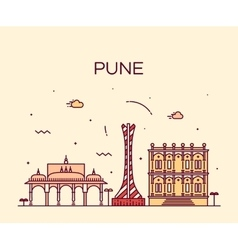 Pune skyline trendy linear vector image