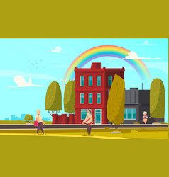 rainbow in city background vector image