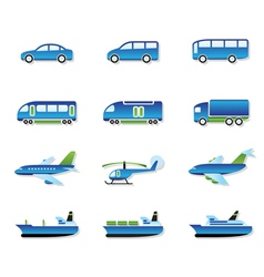 Road air rail and water transport vector