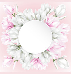 round paper with white and pink flowers vector image