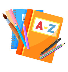 School stationery supplies textbook and copybook vector