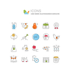 set business in agriculture icons vector image