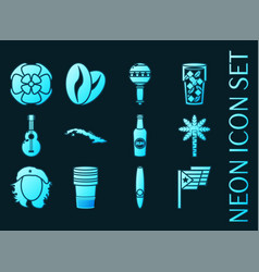 set cuba blue glowing neon icons vector image