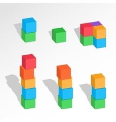 Set of cube combinations Three Four five six vector image