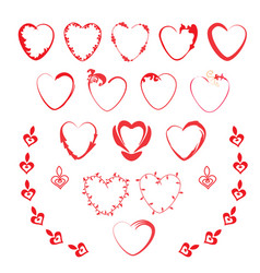 set of curly hearts with romantic elements vector image