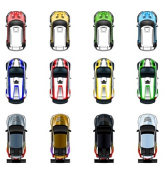 Set of three cars in four different colors vector image
