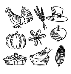 set thanksgiving black sketches objects vector image