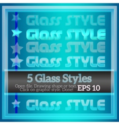 Set transparent glass graphic styles vector