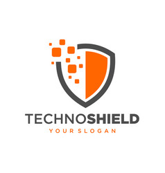 shield technology logo stock vector image