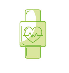 Silhouette smartwatch to know the rhythm cardiac vector
