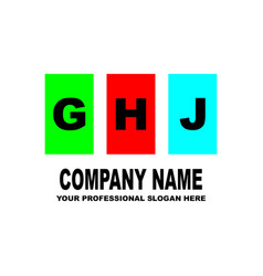 simple logo the three letters ghj are located on vector image