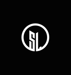 sl monogram logo isolated with a rotating circle vector image