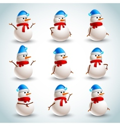 Snowman emotions set vector