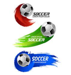 Soccer ball banner for football sport game design vector