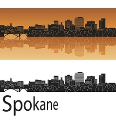 Spokane skyline in orange vector