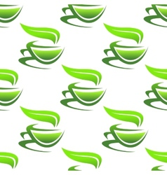 Steaming cups of green tea vector