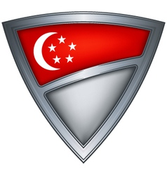 steel shield with flag singapore vector image