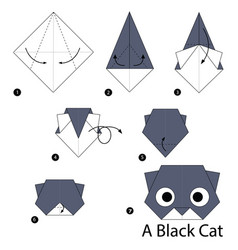 Step instructions how to make origami a black cat vector