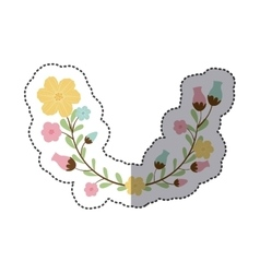 Sticker decorative half arch with flowerbud vector